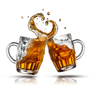 Beer splash in shape of heart isolated on white